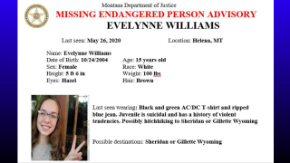 Missing/Endangered Person Advisory has been issued for 15-year old Evelynne Williams of Helena.