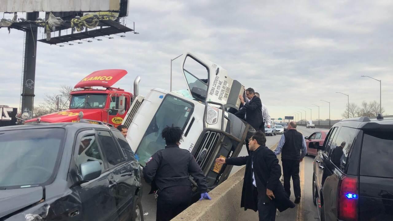 Gov. Andrew Cuomo rescues driver