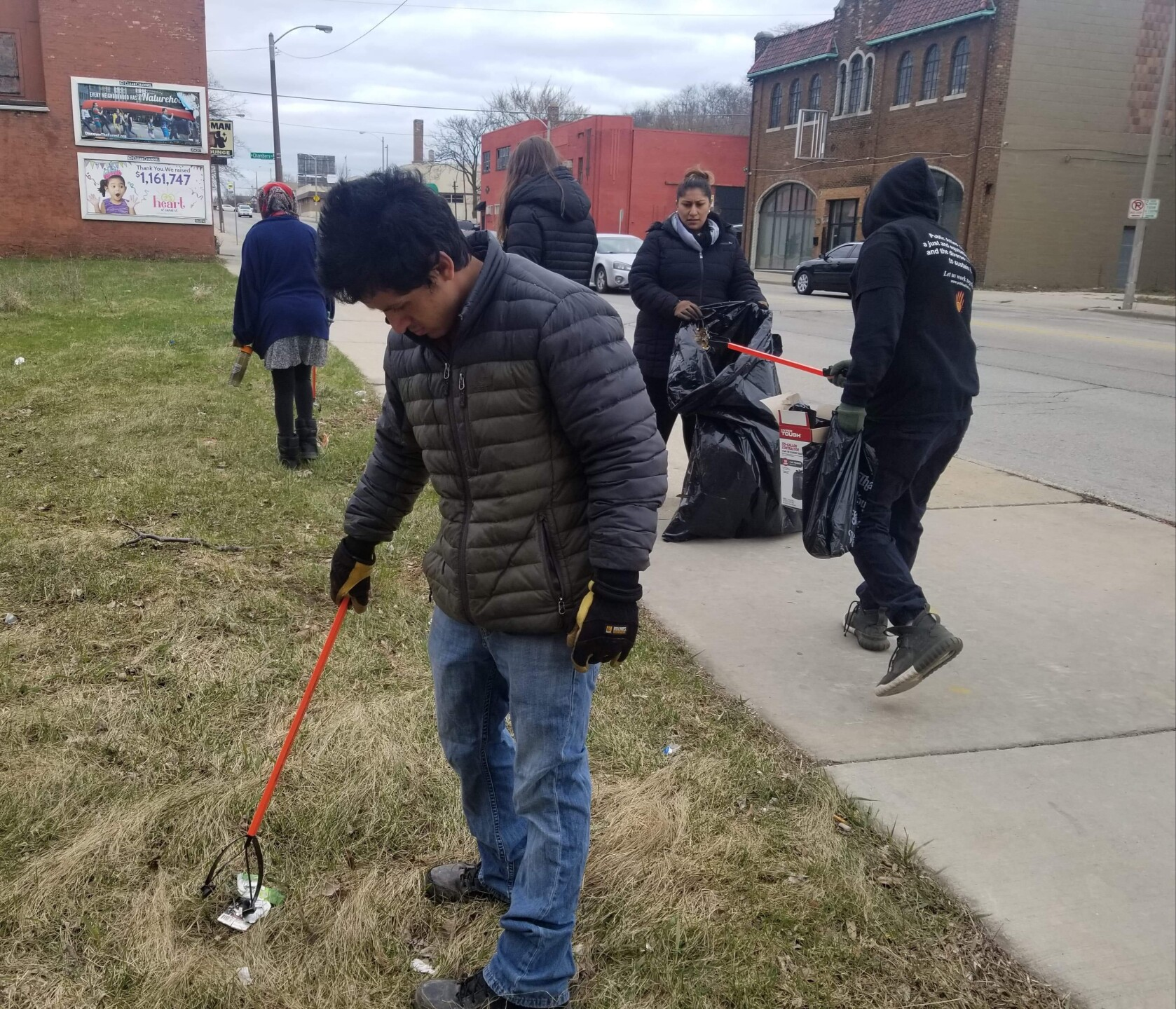 Local youth organizations, True Skool Youth, Ground Works Milwaukee, Cream City Conservations and Public Allies MKE met on Saturday morning on 5th and Locust for Global Youth Service Day, an international effort to participate in community service efforts.