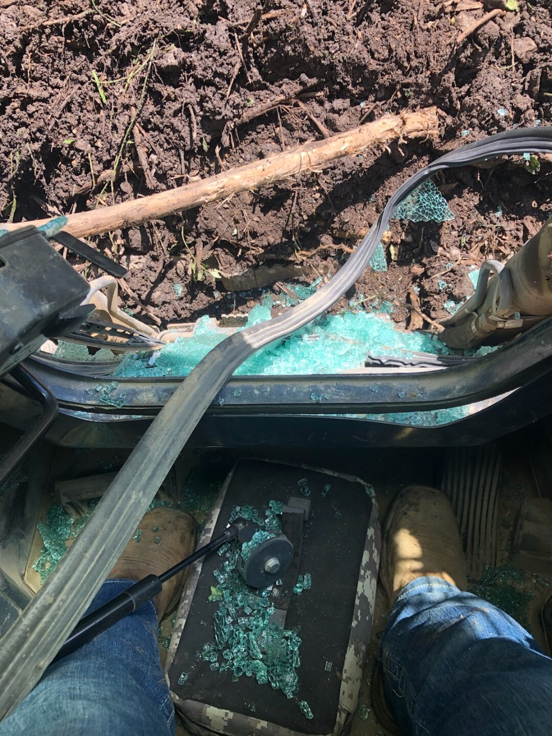 A stray golf ball hit a construction vehicle working on Wasson Way Trail in June.