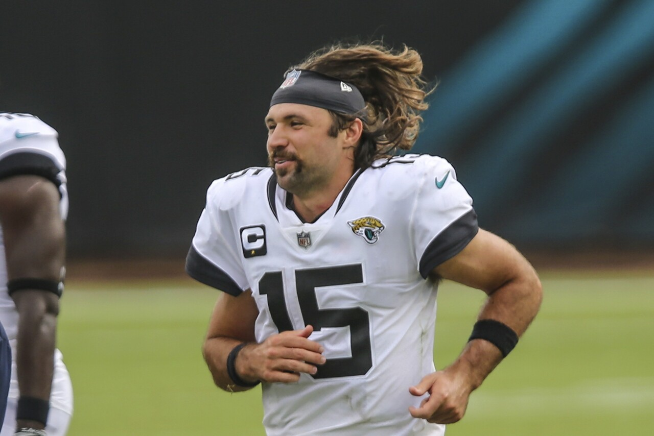 Jacksonville Jaguars QB Gardner Minshew runs to greet players after beating Indianapolis Colts in 2020 season opener