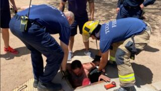 Tucson Fire crews pulled a man out of an underground drainage area after he got lost inside of the system.