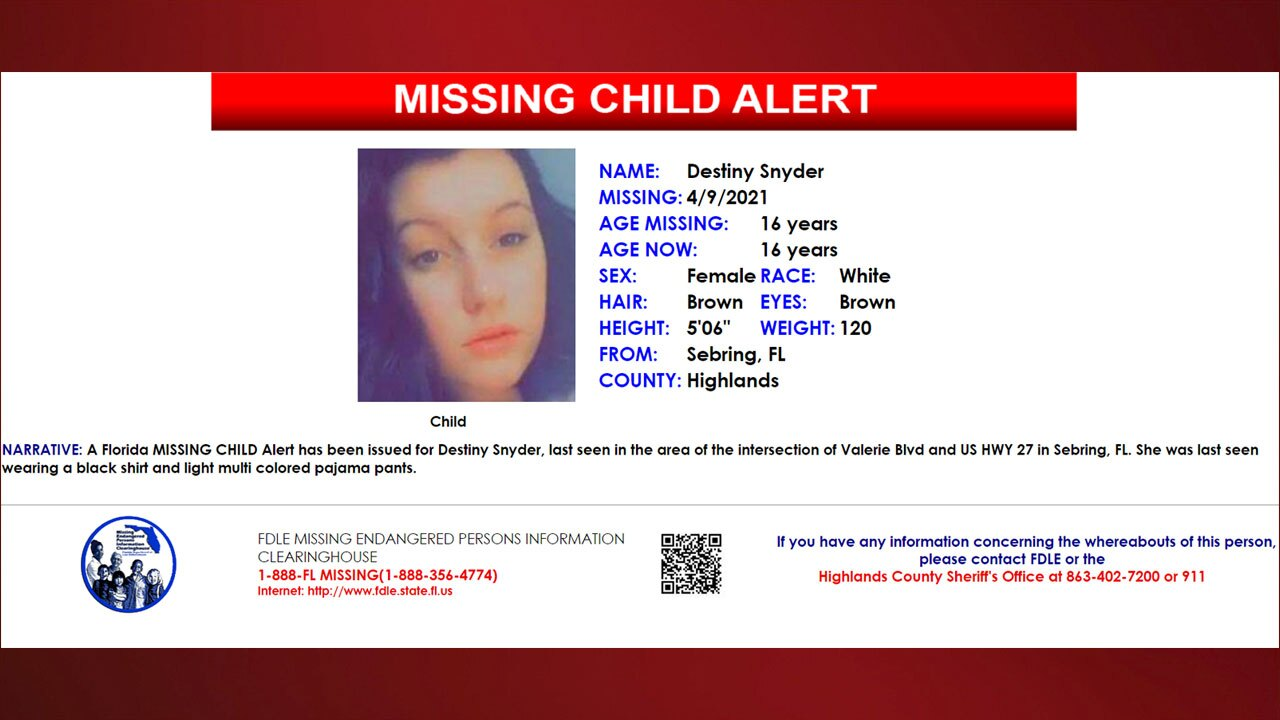 Florida Missing Child Alert issued for 16-year-old girl from Sebring