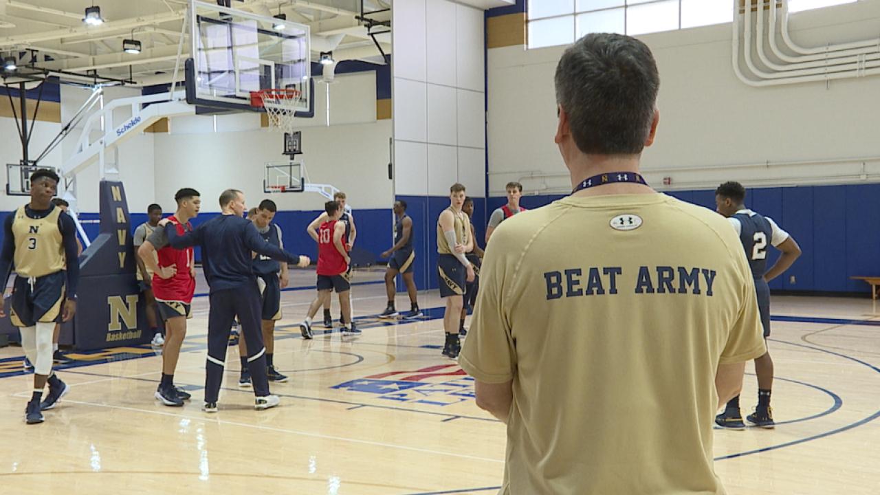 Navy men's basketball practice