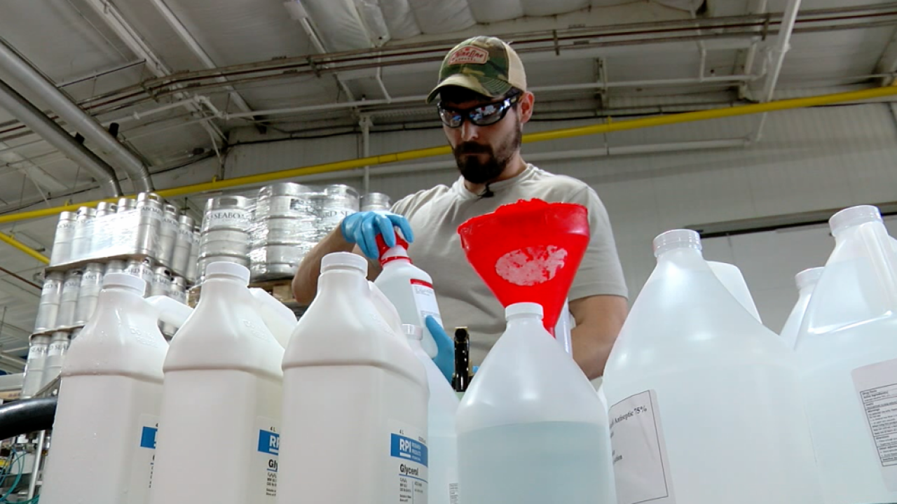 Big Storm Brewery making hand sanitizer
