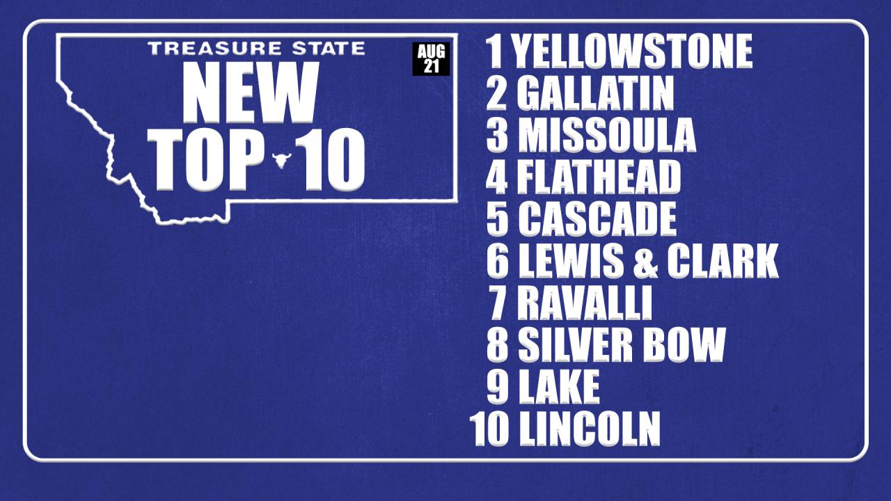 Montana Top 10 Counties