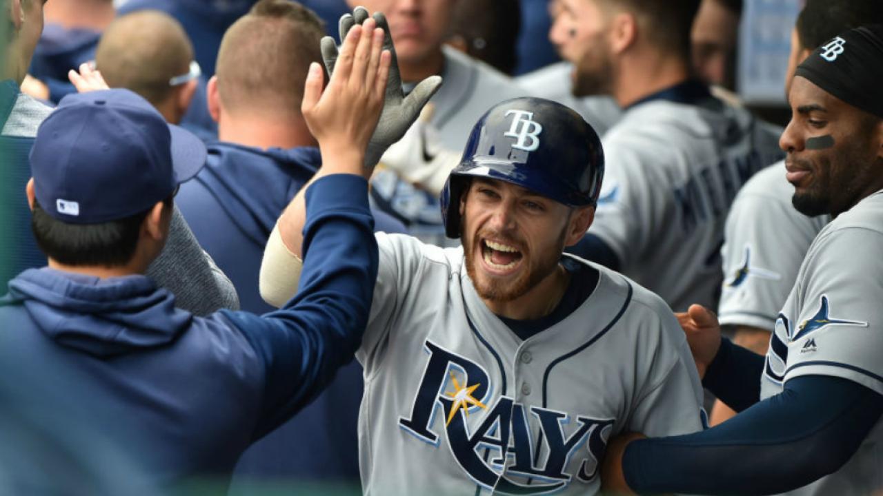 Brandon Lowe celebrates in dugout