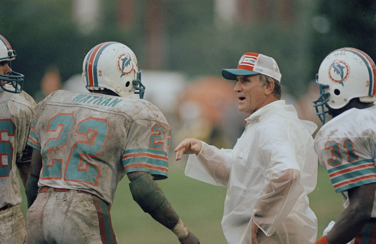Don Shula coaching Miami Dolphins, January 1983