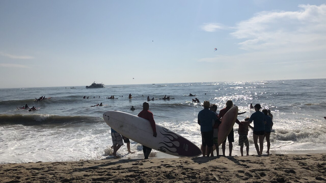 Hundreds of children with autism ride waves in Virginia Beach fortherapy