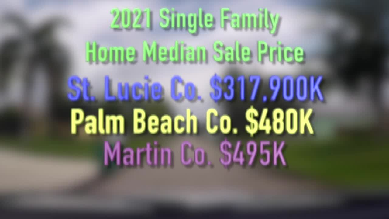 2021 Single Family Home Median Sale Price for St. Lucie, Palm Beach and Martin counties