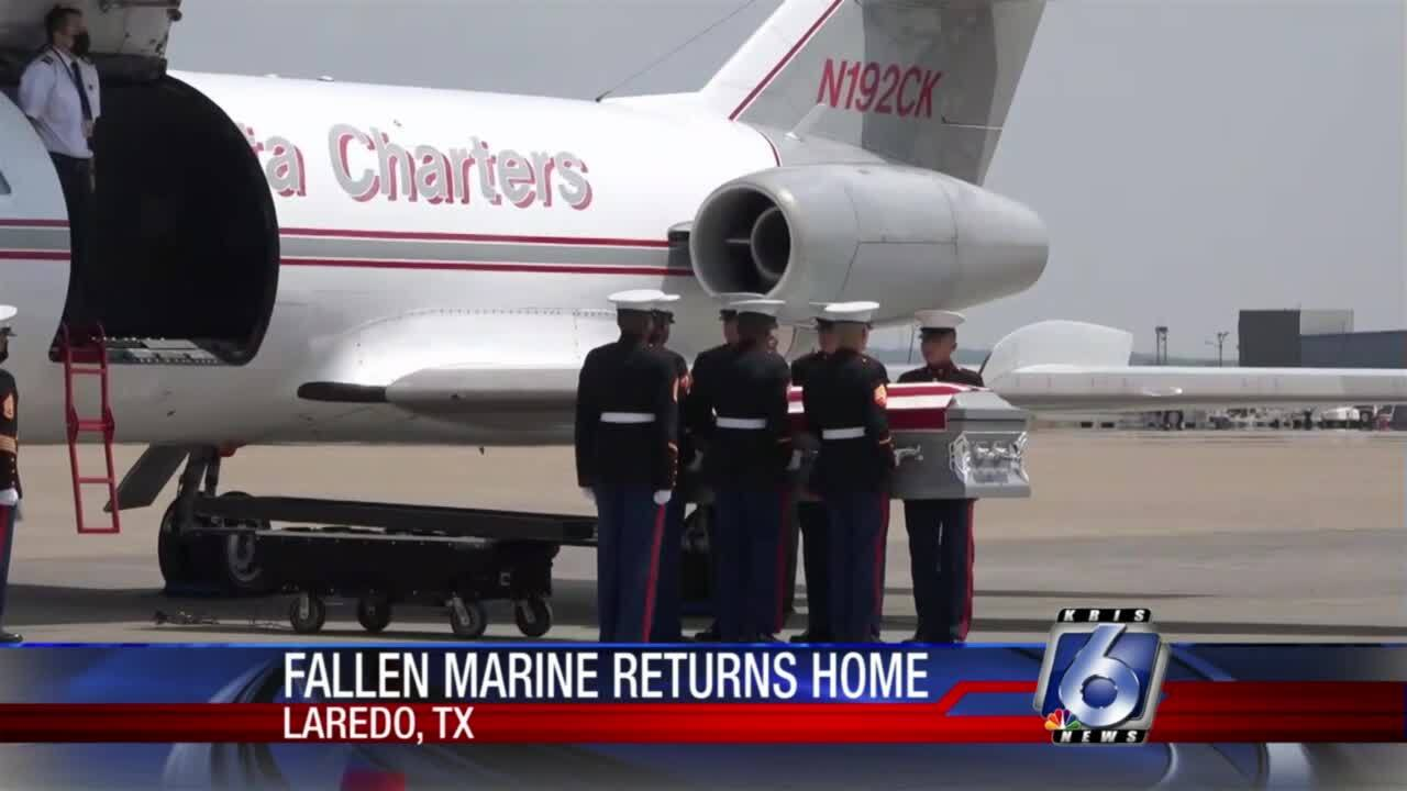 The remains of Lance Corporal David Lee Espinoza arrived in Laredo