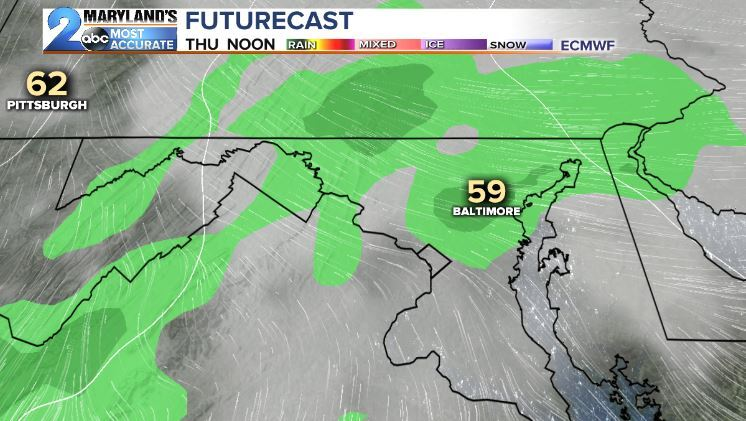 Thursday's Passing Showers-Euro Model