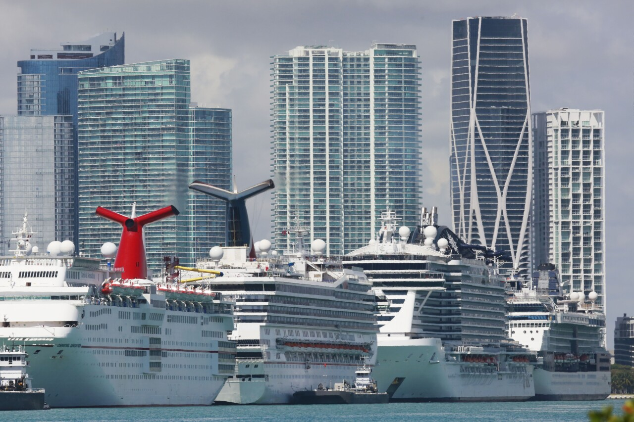 cruise ships docked at PortMiami, March 14, 2020