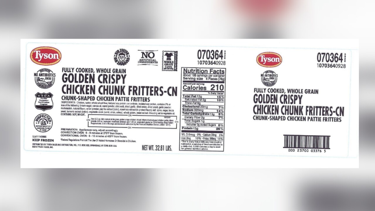 Tyson recalls chicken fritters sold to schools because they may contain plastic