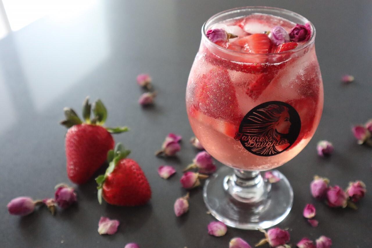 Farmer's Daughter rose themed cocktail for spring