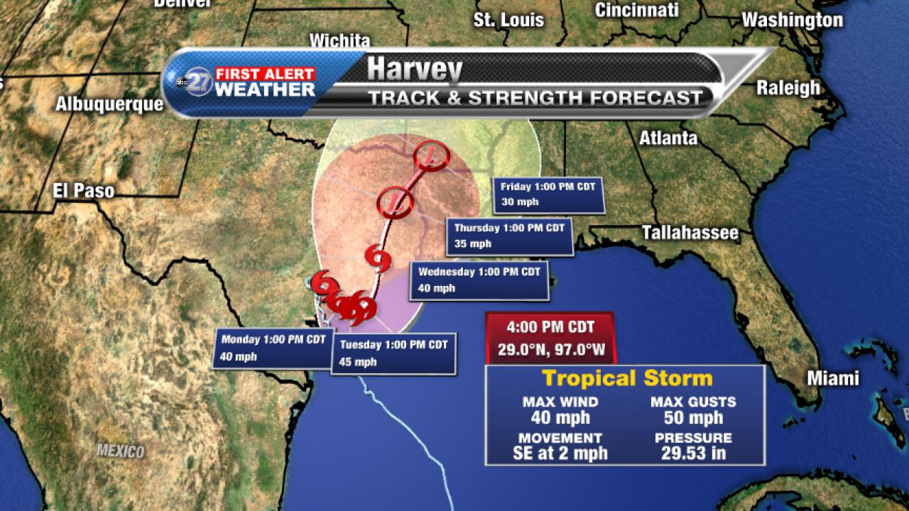 Harvey forecast cone, 8/27/2017