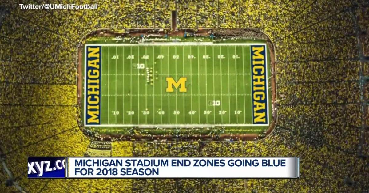 michigan stadium end zones going blue for first time in 2018 michigan stadium end zones going blue