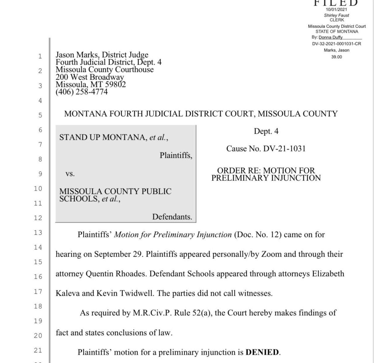 Judge won't block Missoula schools' mask mandate for students