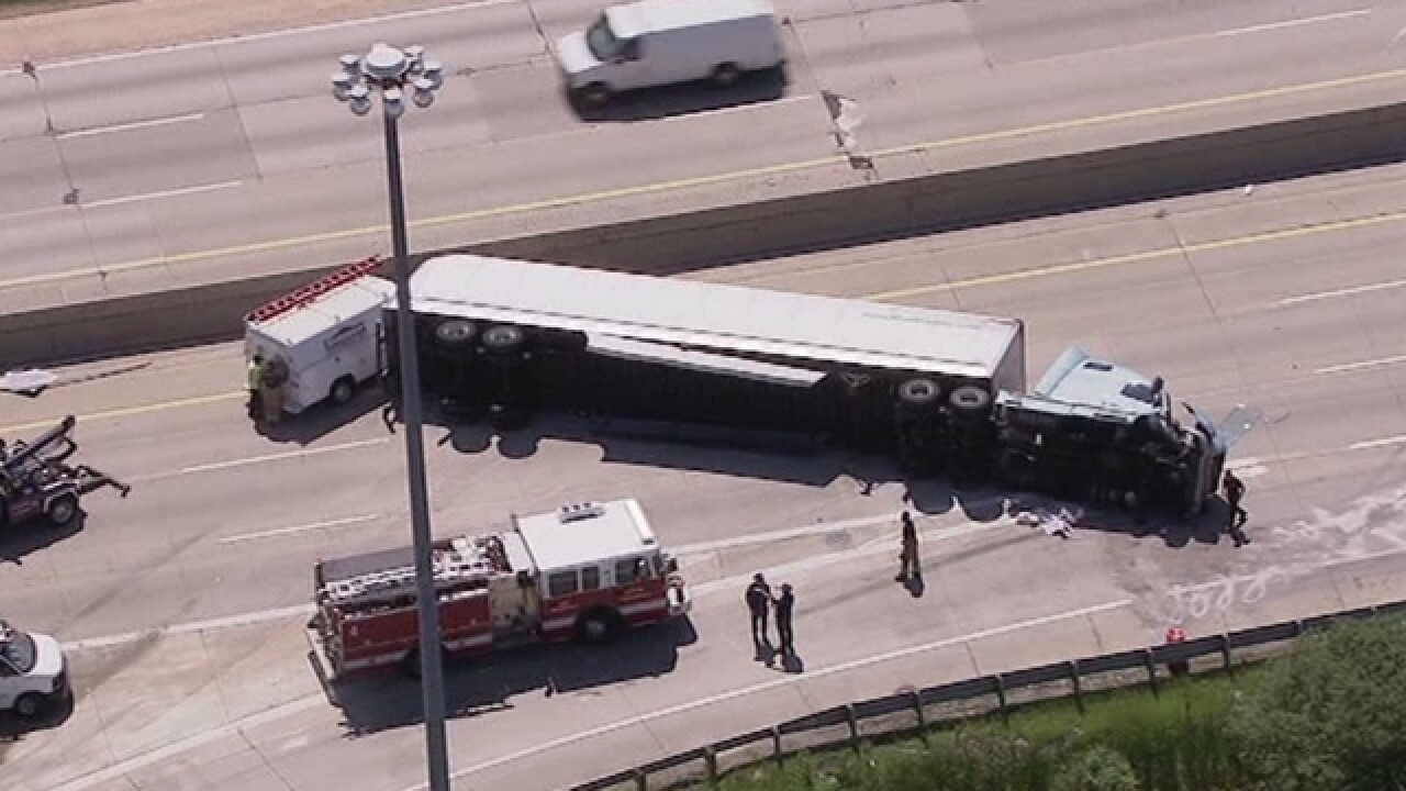 Semi rollover forces closure of westbound I-696