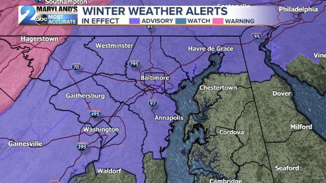WINTER WEATHER ADVISORIES: Issued For Thursday