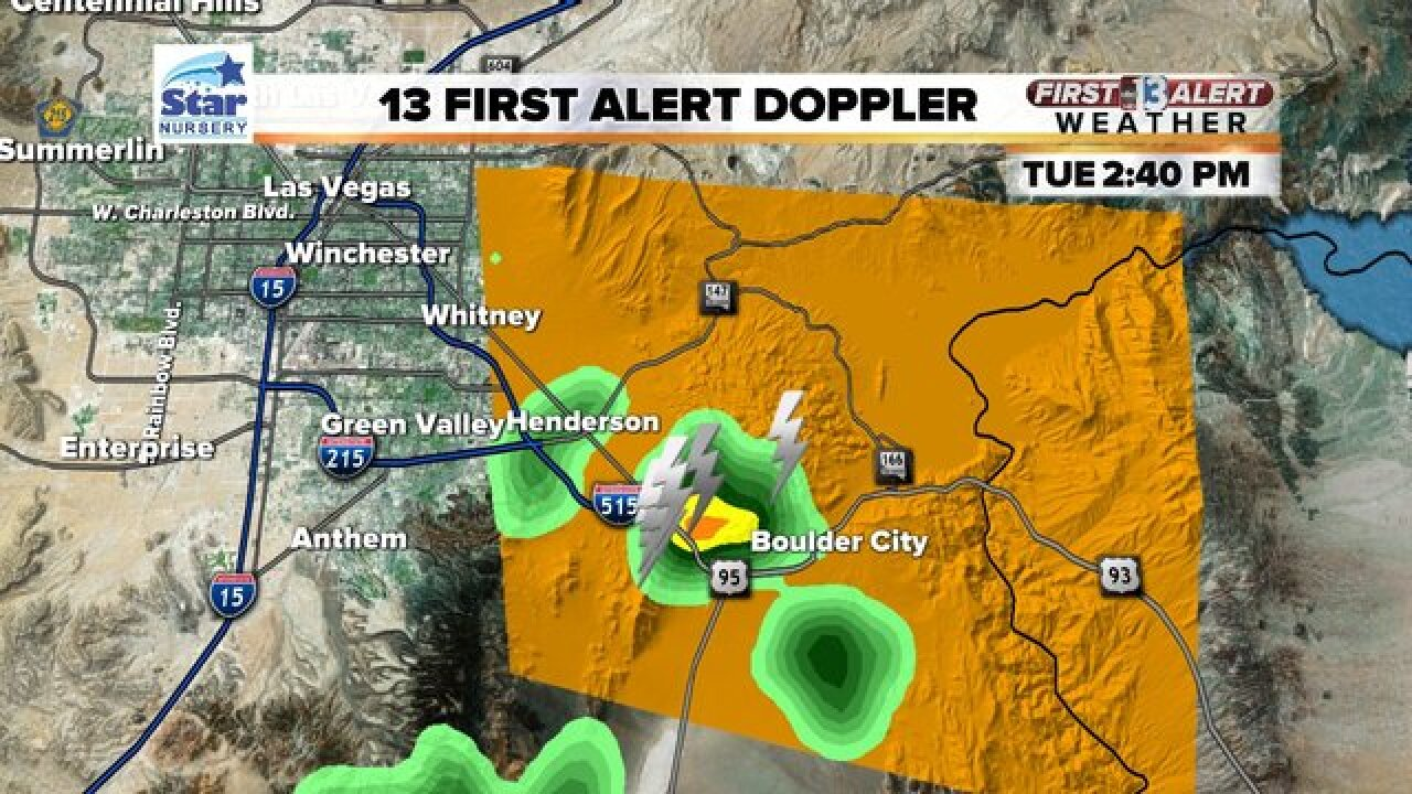 Thunderstorms reported in Henderson, Boulder City