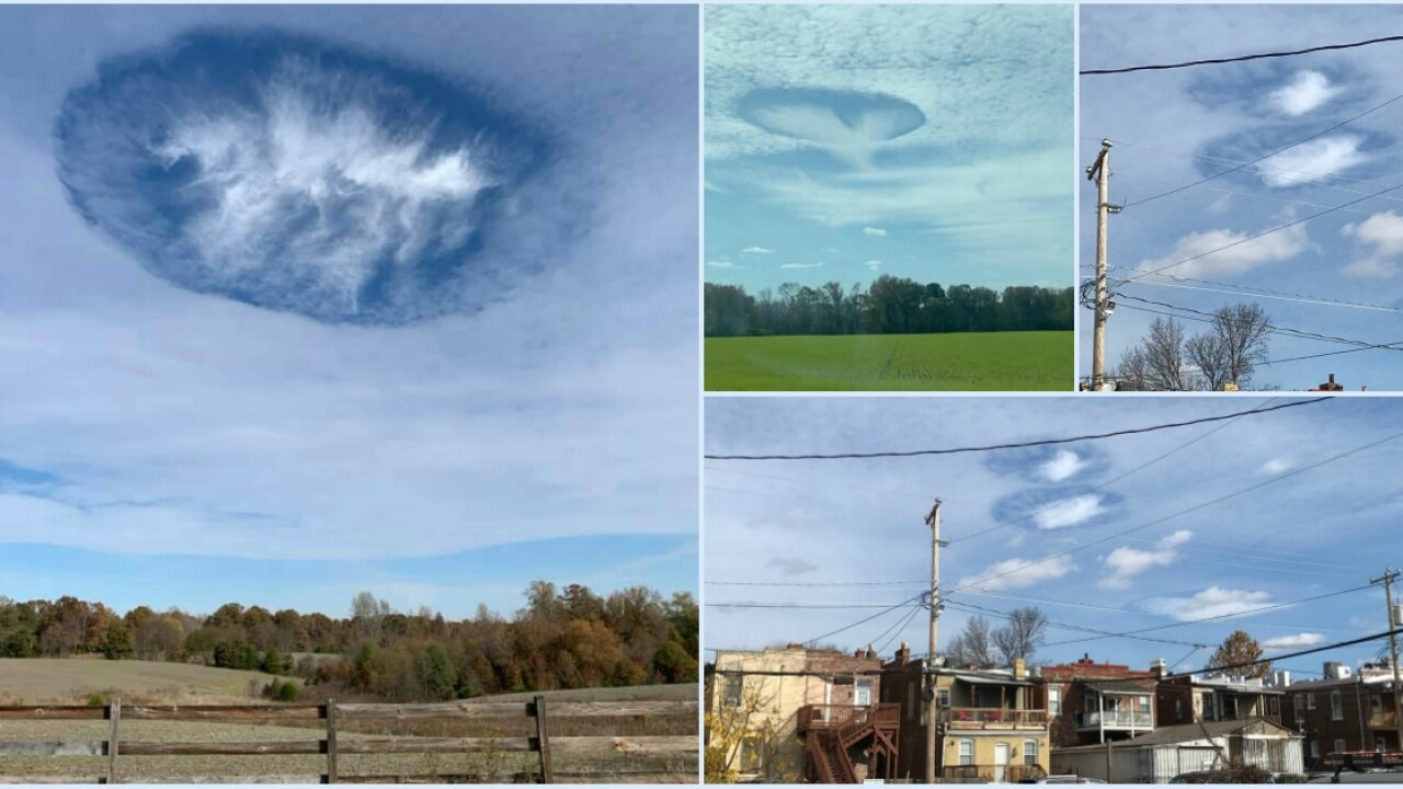 'Hole punch clouds' appear over Central Virginia Saturday