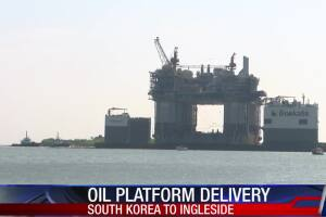 Oil platform arrives in Ingleside for repairs