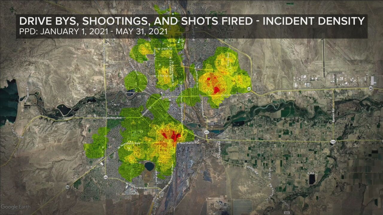 Drive bys, shootings, and shots fired incident density