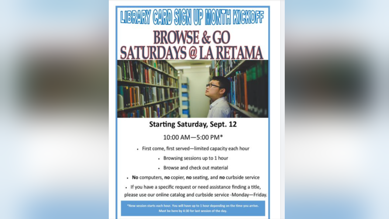 'Browse and Go' will continue Saturdays at La Retama Library
