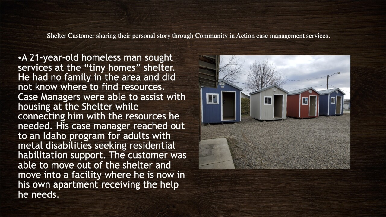 Courtesy: Community in Action. former shelter resident sharing personal story