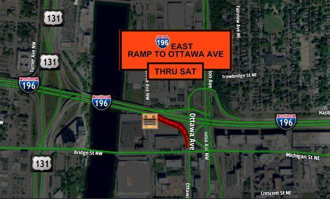 Map 196 EB ramp closed to Ottawa Ave.JPG