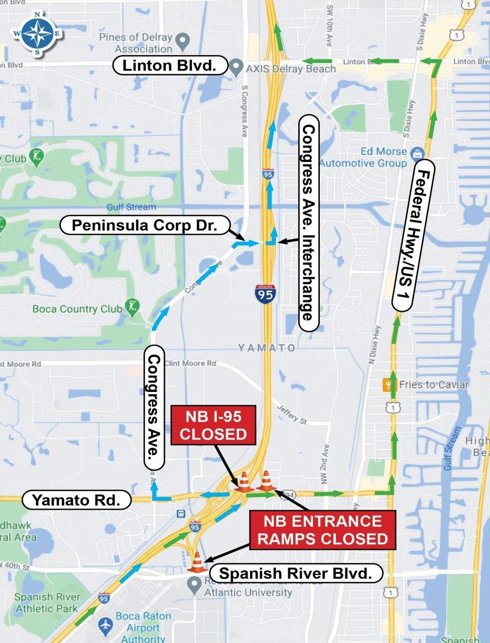 FDOT map of I-95 Yamato Road closures June 2021