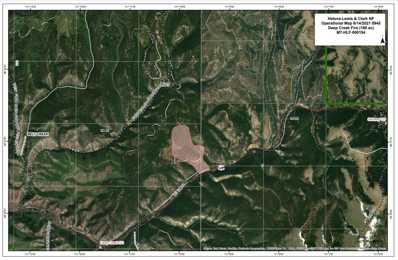 Deep Creek Fire map June 14