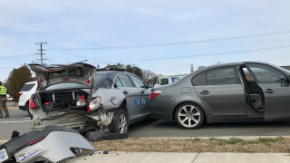 Trooper rear-ended on Dahlgren Road (SOURCE: Virginia State Police)