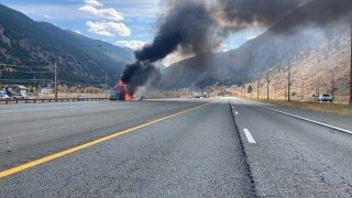 i-70 georgetown tractor trailer semi truck fire