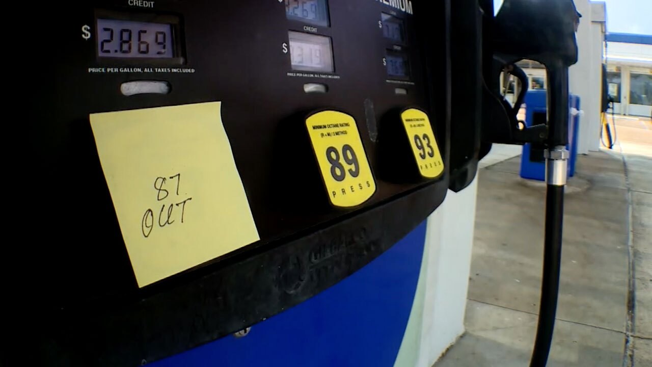 Gas station in West Palm Beach, no regular fuel on May 12, 2021