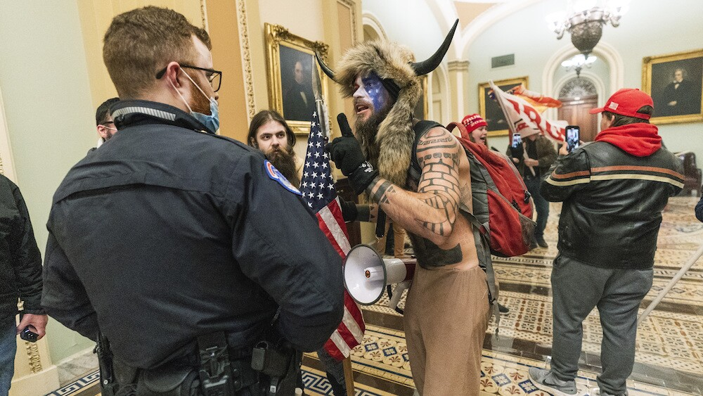 Capitol riots man with horns Jacob Chansley