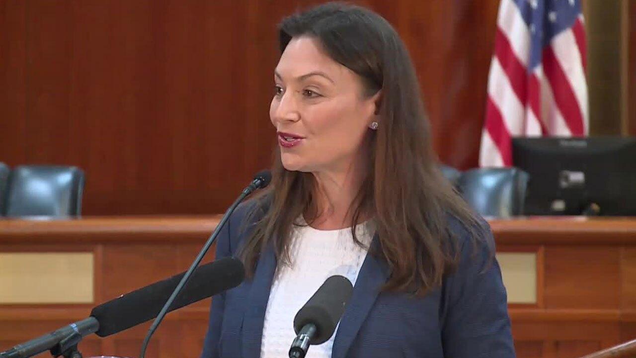 Nikki Fried speaks in Tallahassee on July 28, 2021, regarding COVID-19 case surge