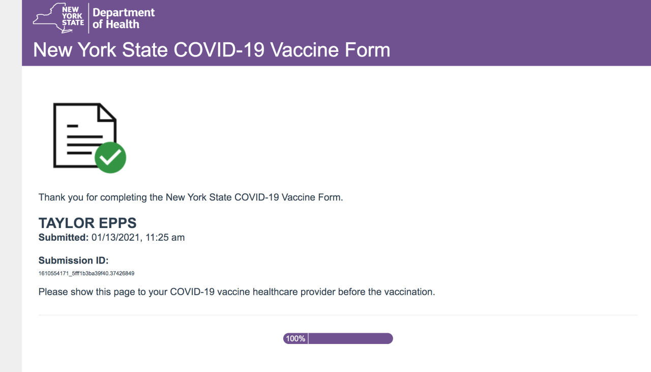 This form is what you need to bring to your vaccination appointment