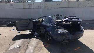 major injuries; went off overpass