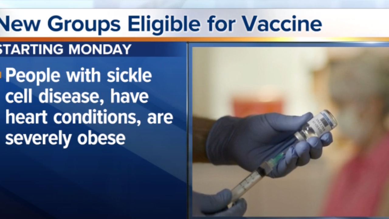 Those 16 and older with severe health conditions can receive COVID-19 vaccine starting Monday
