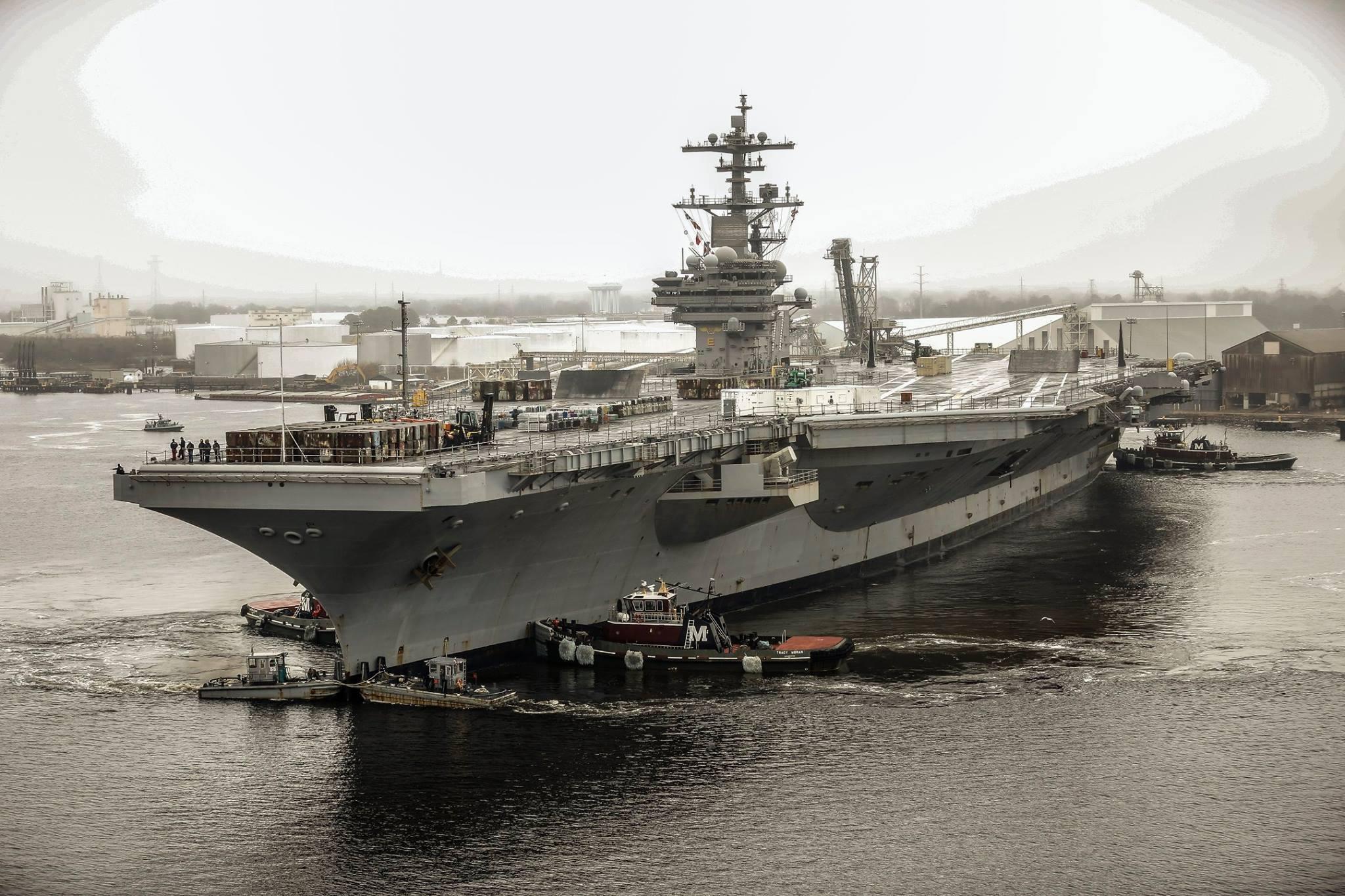 Photos: USS George H.W. Bush drydocking at Norfolk NavalShipyard