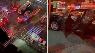 Car strikes motorcycle in Harlem