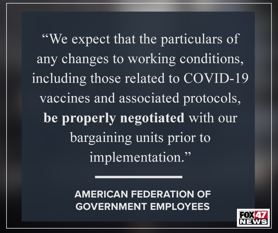 American Federation of Government Employees comments on requiring vaccines