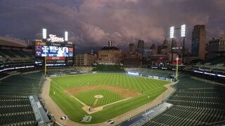 Comerica Park night 2020 home opener Royals Tigers Baseball