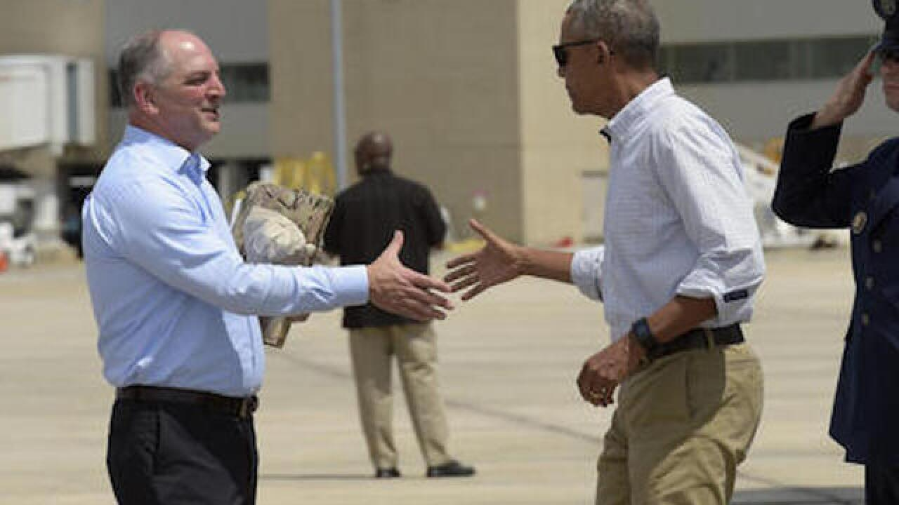 Obama arrives in Louisiana to survey flood damage