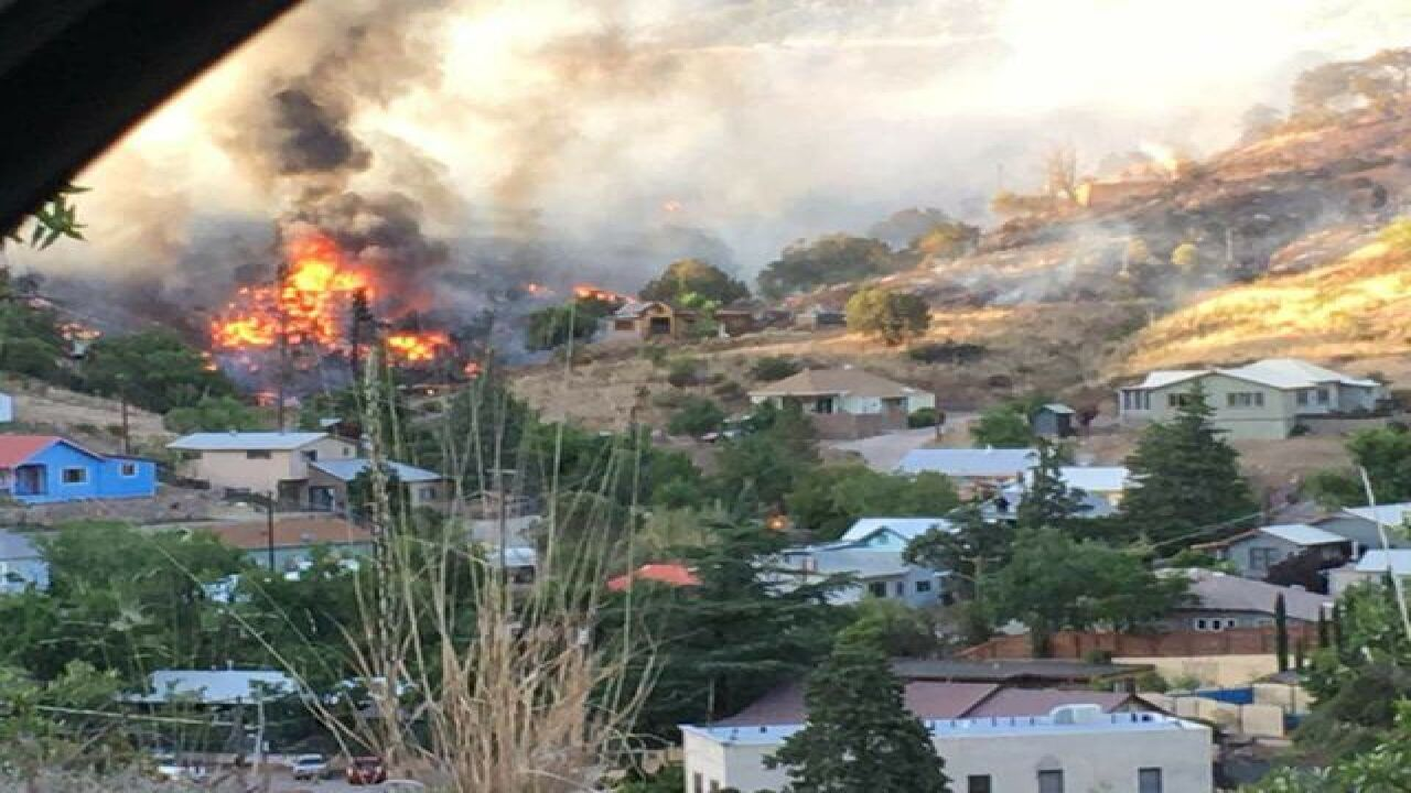 Structure fire in Old Bisbee near Star Avenue