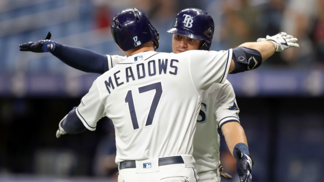 Austin Meadows congratulated by Willy Adames