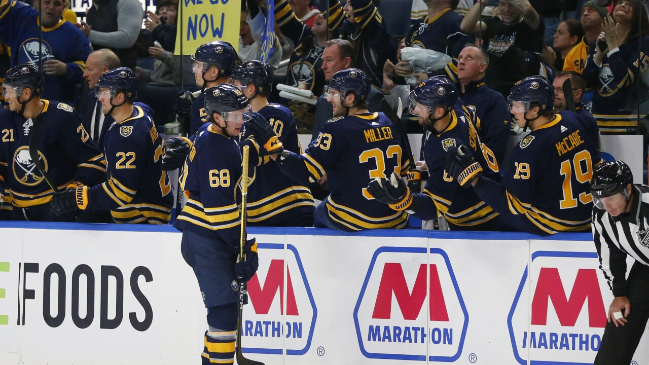 Olofsson makes history as Sabres top Stars in 4-0 win