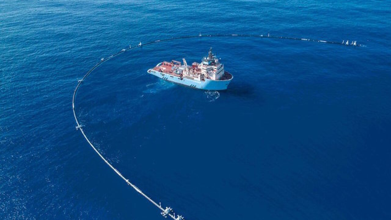 Floating pipe designed to clean up all plastic in ocean begins work today